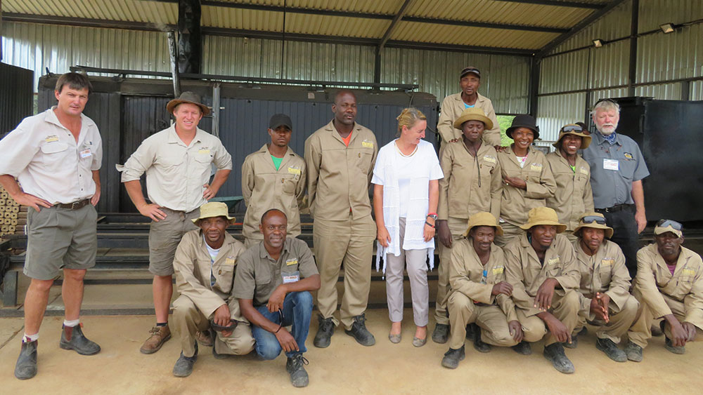 Cheetah Conservation Fund Demonstrates CK-3 Carbonizing Kiln for Industry Delegation at its Biomass Technology Demonstration Centre