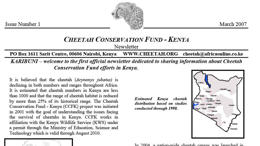 CCF Kenya Newsletter No. 1 – March 2007