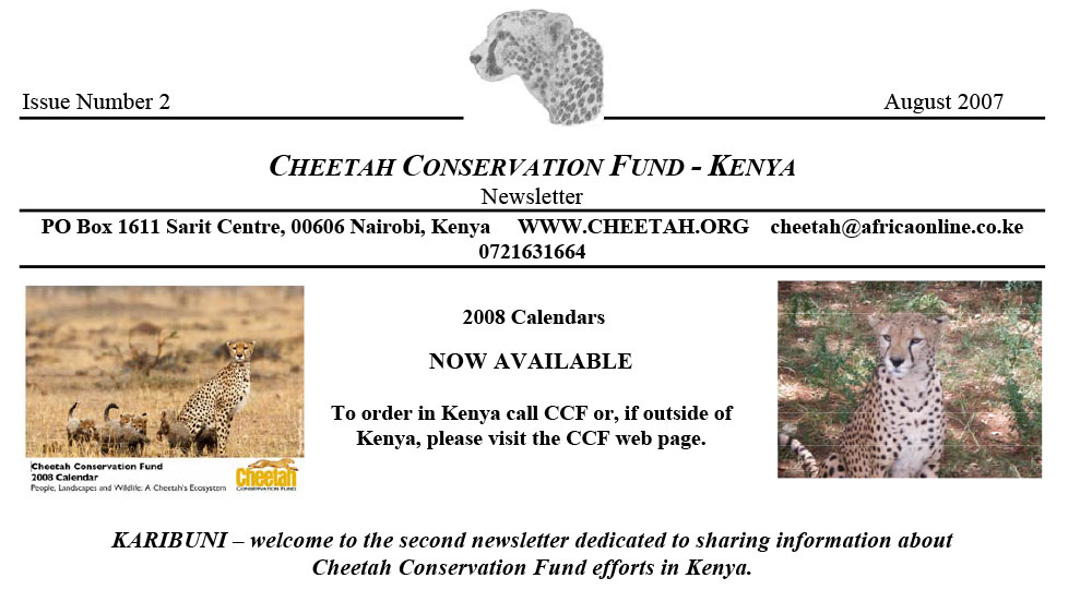 CCF Kenya Newsletter No. 2 – August 2007